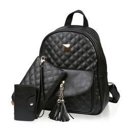 Small Fashionable Backpack for Women Mini Black Quilted Fash