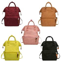 Solid Color Travel Backpacks Corduroy Women Large School Top