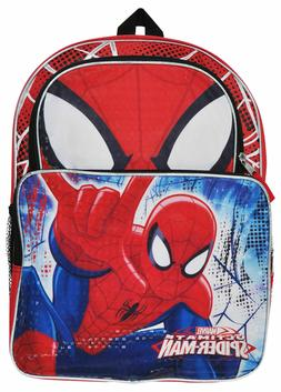 Marvel Spiderman Boys School Backpack Book bag Lunch Box SET