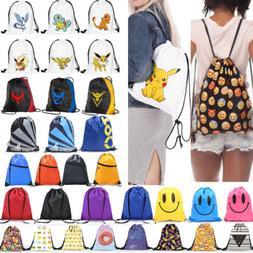 String Drawstring Backpack Cinch Sack Bag School Tote Gym Sp
