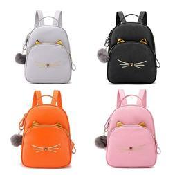 Teenagers Backpack PU Leather School Bags Girl Cartoon Cat S
