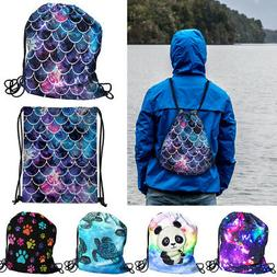 Travel String Drawstring Backpack Sack Shoulder Bag Gym Spor