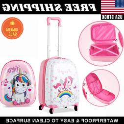 """Unicorn Kids Carry on Luggage Set 12"""" Backpack and 16"""" Rolli"""