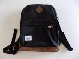 Vaschy Unisex Classic School Travel Black Backpack Brown Acc