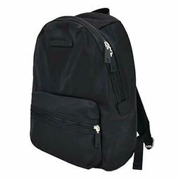 unisex nylon solid black school backpack