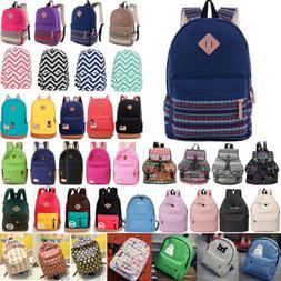 Unisex Womens Mens Canvas Backpack School Book Bag Travel Sh