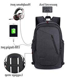 Upgraded Laptop Backpack with USB Charging Port and Lock& He