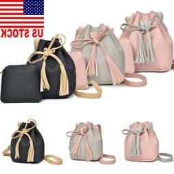 US 2PCS/Set Womens Girls Leather Backpacks Mini Rucksack Han