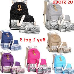 US 3pcs/Set Boho Girls Kids Backpack Women Canvas Travel Boo