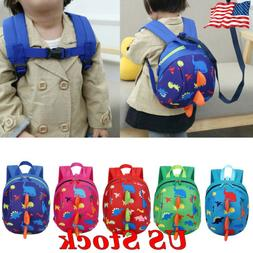 US Kids Children Toddler Backpack Anti-lost Band Bag Dinosau