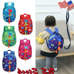 US Toddler Backpack Anti-lost Band Kids Children Bag Dinosau