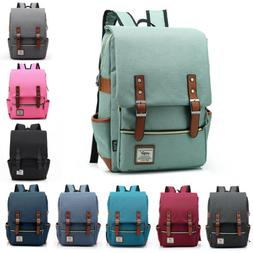 Canvas Backpack Mens Women School  Travel Rucksack Laptop Sa