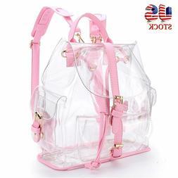 US Women Clear Transparent Backpack School Shoulder Bag Satc