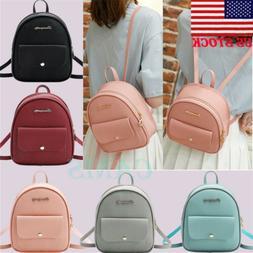 US Women Girls Mini Faux Leather Backpack Rucksack School Ba