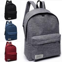 US Women Men Shoulder Canvas Backpack Rucksack School Book T