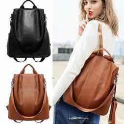 US Women's Leather Backpack Anti-Theft Rucksack School Sho