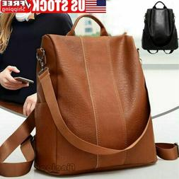 USA Women's Leather Backpack Anti-Theft Rucksack School Sh