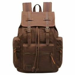 b24e9c62cf Vintage Canvas Genuine Leather Backpack for Men Travel Bag R