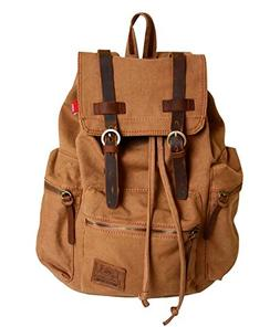 Vintage Canvas Leather Backpack HuaChen-AUGUR Hiking Daypack