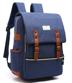 Apiidoo Unisex Vintage Canvas Leather Backpack Rucksack Lapt