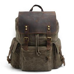 SUVOM Vintage Canvas Leather Laptop Backpack for Men School