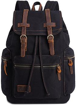 BESTOPE® Vintage Men Casual Canvas Leather Backpack Rucksac