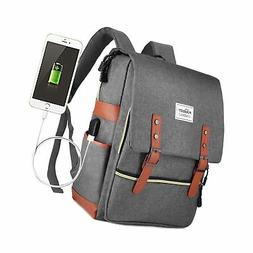 Puersit Vintage Laptop Backpack, Canvas College Backpack Sch