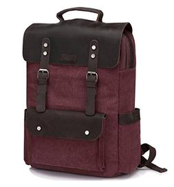Vintage Leather Canvas Backpack for Women fits 15.6 inch Lap