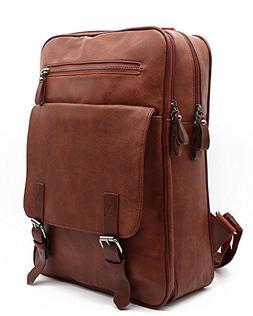 Vintage PU Leather Laptop Backpack College Travel School Bag