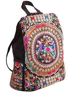 LeaLac Vintage Women Canvas Backpack Handmade Embroidered Ba