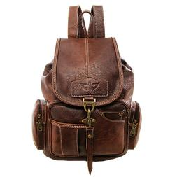 vintage womens leather backpack shoulder school shoulder