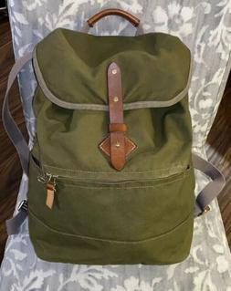 TANNER GOODS Voyager Daypack Field Green Waxed Canvas Leathe