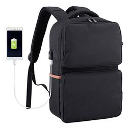Water Resistant Laptop Backpack with USB Charging Port, Busi