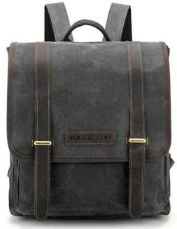 Waxed Canvas and Leather Vintage Backpack College Schlool Ca