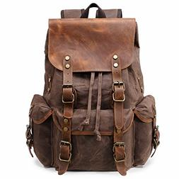 Kemy's Mens Waxed Canvas Backpack Leather Rucksack for Men W