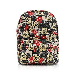 Finex White Mickey and Minnie Mouse Canvas Backpack with Lap