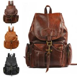 Women PU Leather Backpack Shoulder Satchel Vintage School Tr