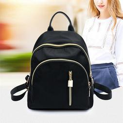 Women Small Backpack Travel Nylon Handbag Shoulder Bag Black