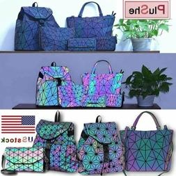 women geometric holographic backpack design handbag color