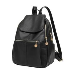 Women Girl Leather Black Backpack Satchel Rucksack Travel Sh