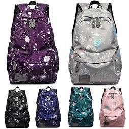 Women Girl Nylon Large Backpack Travel Laptop School Shoulde