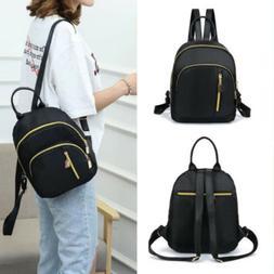 Women Girls Black Nylon Mini Backpack Travel School Backpack