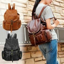 Women Girls Leather Backpack Shoulder School Satchel Vintage