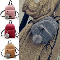 Women Girls Mini Corduroy Backpack Rucksack School Travel Sh