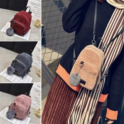Women Girls Mini Corduroy Backpack School Bags Small Travel