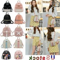 Women Girls Mini Rucksack School Bag PU Leather Backpack Pur