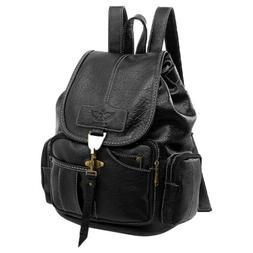 Women Girls Vintage Leather Backpack School Travel Rucksack