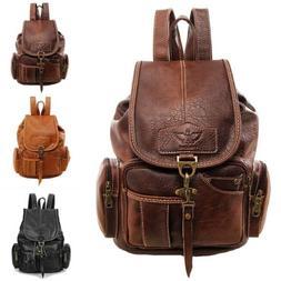 Women Leather Vintage Backpack Shoulder School Travel Bag Sa