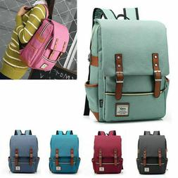 Women Men Canvas Leather Travel Sports Backpack Satchel Ruck
