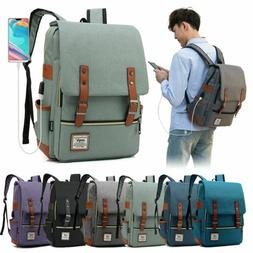 Women Men Girl Canvas Leather Travel Backpack Satchel Rucksa